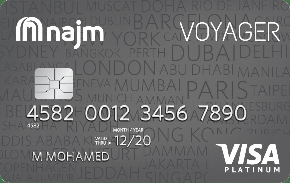 Najm Voyager Platinum Credit Card | Najm Credit Cards